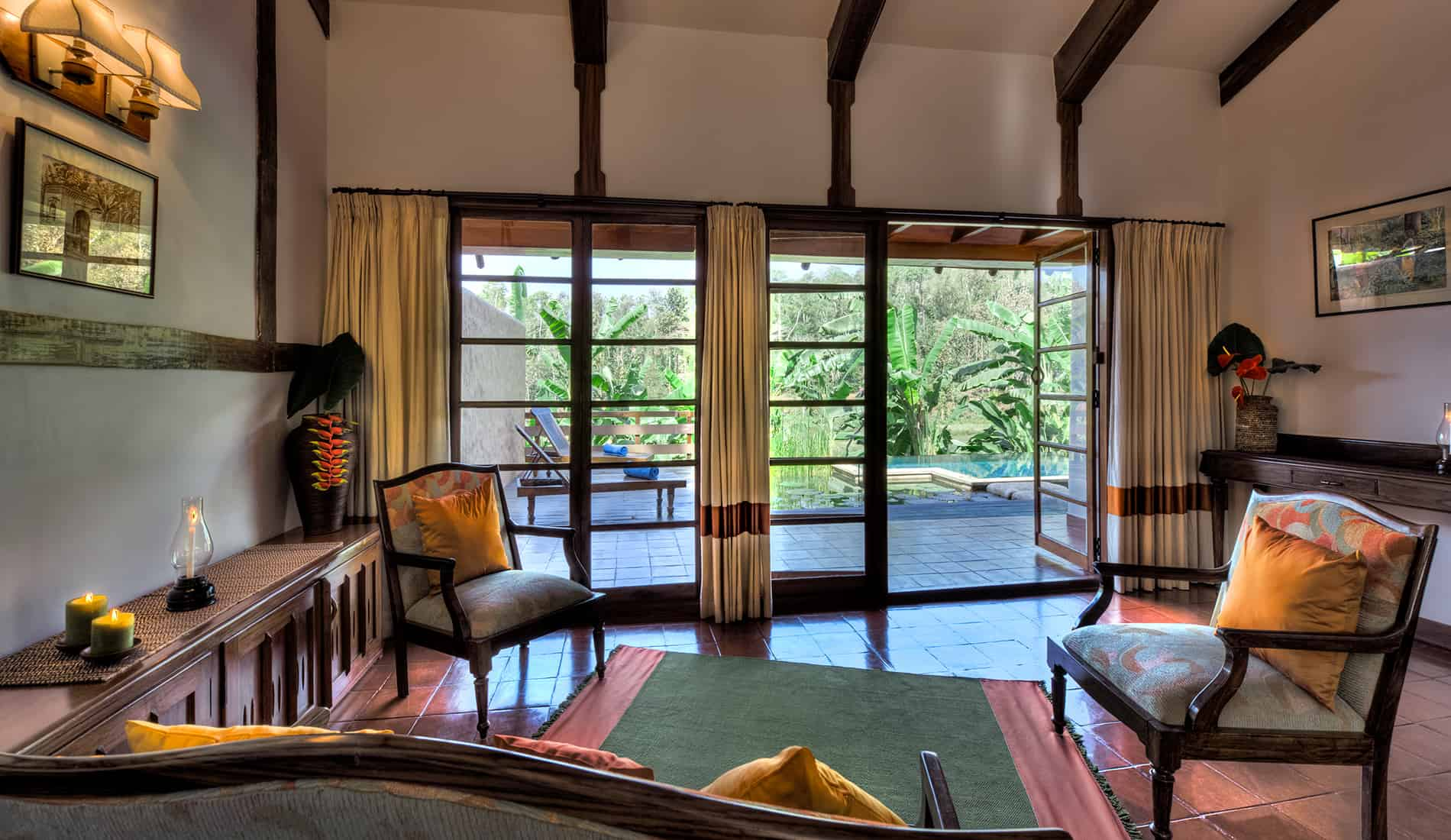 Lily Pool Bungalow, Living Room, Coorg, Orange County Resorts