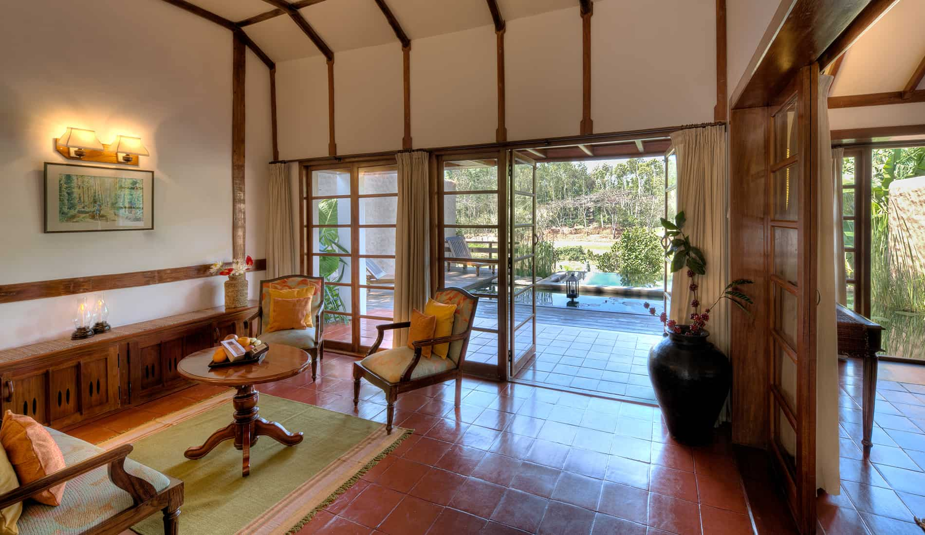 Lily Pool Cottage, Living Room, Coorg, Orange County Resorts